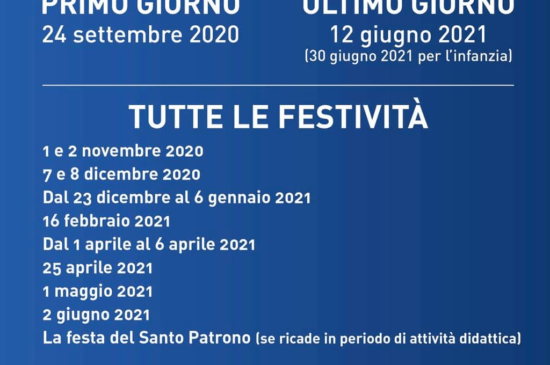 Calendario scolatico 2020-2021
